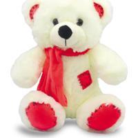 Urso De Pelúcia Com Cachecol 25Cm - Vermelho - Unik Toys
