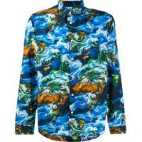 Kenzo Camisa World Com Estampa - Azul