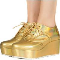 Sapato Taquilla Oxford Anabela Holográfico Dourado