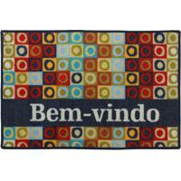 """Tapete """"Bem Vindo""""- Azul Marinho & Vermelho- 60X40Cmkapazi"""