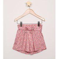 Short Infantil Clochard Estampado Floral Com Faixa Rosa