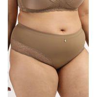 Calcinha Feminina Dilady Plus Size Cintura Alta Em Microfibra Com Renda Marrom