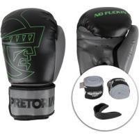 Kit Boxe Muay Thai Pretorian: Bandagem + Protetor Bucal + Luvas First - 12 Oz - Adulto - Preto/Cinza