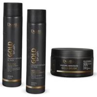 Kit Shampoo + Condicionador+ Mascara Gold Brush Duetto - Feminino-Incolor
