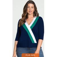 Blusa Malha Viscose C/Elastano Azul