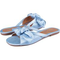 Rasteira Trivalle Shoes Cetim Blue