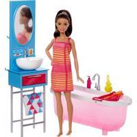 Boneca Barbie Articulada - Barbie Com Móveis E Acessórios - Barbie No Banheiro - Mattel