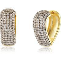 Argola Modelo Coração Cravejada Com Aplique Em Ródio E Zircônias Cristal Banhado Em Ouro 18K