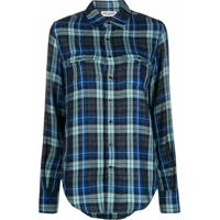 Saint Laurent Camisa Xadrez - Azul