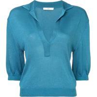 Tibi Camisa Polo Mangas Curtas - Azul