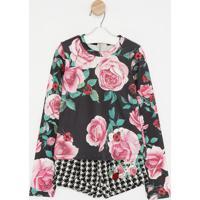 Conjunto De Blusa Floral + Short Com Patch- Preto & Rosamylu