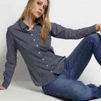 Camisa Em Algodão Egípcio Com Bordado - Azul Marinho & Bdudalina