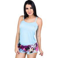 Pijama Mvb Modas Blusinha Alça E Short Curto Feminino - Feminino-Azul