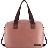 Bolsa Para Viagem & Academia- Rosa & Marrom- 38X26,5Jacki Design