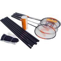 Kit Para Treino De Badminton Com 4 Raquetes E 3 Petecas Em Nylon - Vollo Vb004