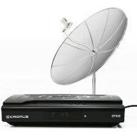 Kit Com 01 Receptor Cr 5.0 + Antena De Tela 1,70 - Lnbf Mono + Kit De Cabo - Cromus