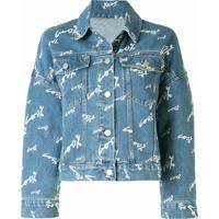 Portspure Jaqueta Jeans Com Estampa De Texto - Azul