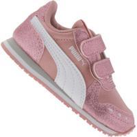 Tênis Para Bebê Puma Cabana Racer Glitz V Td - Infantil - Rosa Cla/Branco