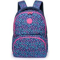 Mochila Bolsa Feminina Juvenil Spector Escolar Viagem Azul/Rosa
