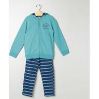 Conjunto De Jaqueta + Calça Listrada -Verde & Azul Marinmilon