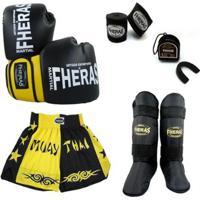 Kit Boxe Muay Thai Orion Luva Bandagem Bucal Can - Unissex
