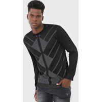 Suéter Tricot Guess Geométrico Preto/Cinza
