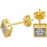 Brinco Em Ouro Galeria Quadrada Com 14 Brilhantes - Br18006 Casa Das Alianças Feminino - Feminino