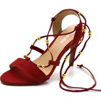 Sandália Salto Fino Flor Da Pele Vermelha