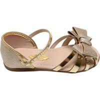 Sandália Infantil Menina Molekinha Dourada Glitter