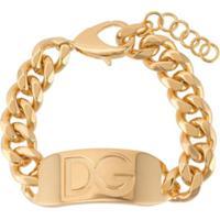 Dolce & Gabbana Pulseira De Corrente Com Logo Gravado - Dourado