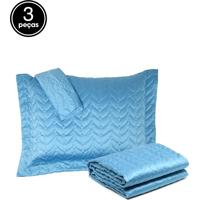 Kit Colcha Queen 3Pçs Corttex Home Design Micromatelassê Azul