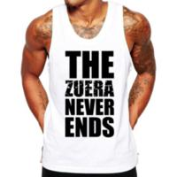 Camiseta Regata Criativa Urbana Frases Engraçadas Zuera Never Ends - Masculino-Branco
