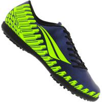Chuteira Society Penalty Storm Speed Ix Tf - Adulto - Azul Esc/Amarelo