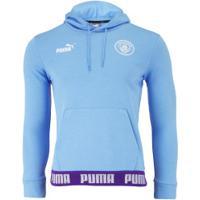 Blusão De Moletom Manchester City Hoody 19/20 Puma Com Capuz - Masculino - Azul