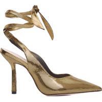 Scarpin Lace-Up Metallic - Dourado