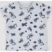 Camiseta Infantil Estampada De Trator Manga Curta Cinza Mescla Claro