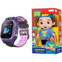 Kit Infantil Criança 1 Boneco Luccas Neto Articulado + 1 Smartwatch Relógio Inteligente Q12 Roxo