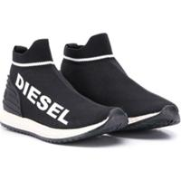 Diesel Kids Tênis Meia Com Estampa De Logo - Preto