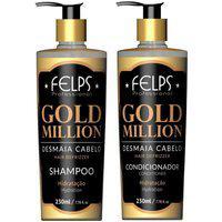 Kit Gold Million Desmaia Cabelo Felps Shampoo 230Ml+Condicionador 230Ml