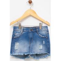 Short Infantil Em Jeans Com Lavagem - Tam 5 A 14