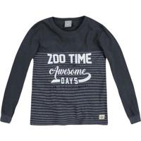 """Camiseta """"Zoo Time""""- Cinza Escuro & Branca- Primeirohering"""