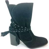 Bota Rr Shoes Camurça - Feminino-Preto