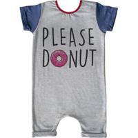 Macacão Infantil Curto Comfy Please Donut - Unissex-Cinza