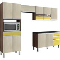 Cozinha Compacta Turmalina 11 Pt 3 Gv Mocaccino Com Teka E Amarelo