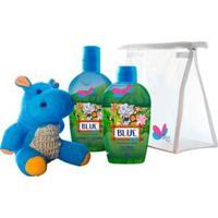 Kit Delikad Kids Safari Hyppo Blue - Colônia + Sabonete Líquido + Bucha Kit - Unissex-Incolor