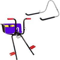 Cadeirinha Infantil Dianteira Bike Super Luxo + Suporte Parede 1 Bike Al-05 - Unissex