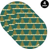 Sousplat Mdecore Natal Arvores De Natal 32X32Cm Verde 4Pçs