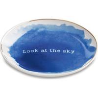 "Mini Prato Com Borda Metalizada ""Look At The Sky""- Azul Mart"