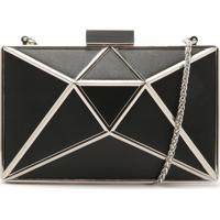 Clutch Cristal Leather Black   Schutz