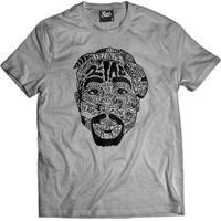 Camiseta Skull Clothing Tupac Tattoo Masculina - Masculino-Cinza